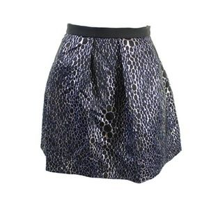 French Connection Black Printed Metallic Skirt